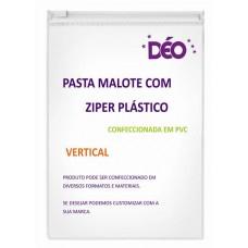 Pasta malote / pasta plástica transparente em PVC com zíper plástico vertical (Ref. GR004)