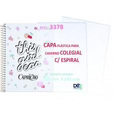Capa Para Caderno COLEGIAL (80 ou 160 FLS)  c/ Espiral Capa Solta - recomendável p/ caderno espiral colegial (Ref. 3378) - Embalagem com 5 ou 50 JG - LANÇAMENTO