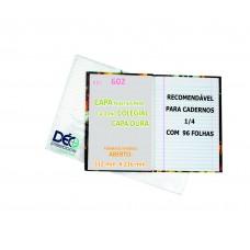 Capas Plásticas P/ caderno 1/4 BROCHURA - recomendável para cadernos capa dura c/ 48 ou 96 folhas (Ref. 602) - Embalagem com 5 ou 50 unidades