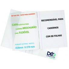 Capas Plásticas P/ caderno BROCHURÃO - recomendável p/ caderno flexível c/ 80 folhas (Ref. 604) - Embalagem com 5 ou 50 unidades