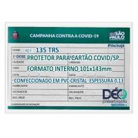 Porta documento s/ impresso ilustrativo c/ tampa p/ cartão de vacina COVID p/ UF SP EM SR TRS - FORMATO INTERNO 101x143mm - PCT C/ 50 PÇS - Ref. 135 TRS