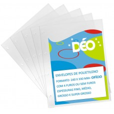 Envelopes de Polietileno Ofício - Pacotes Práticos De Envelopes - Médio c/ 4 furos (Ref. 667) - Embalagem com 50 unidades