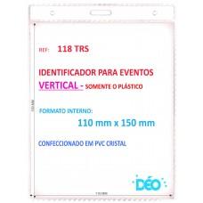 Identificadores - Identificador para Eventos - Vertical - somente o plástico  (Ref. 118 TRS) - Embalagem com 50 unidades