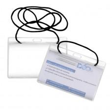 Identificadores - Transparentes p/ eventos - Horizontal - c/ cordão em poliester (Ref. 616) - Embalagem com 50 unidades