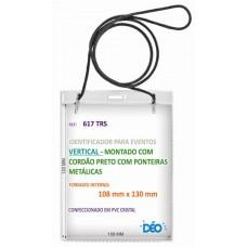 Identificadores - Transparentes p/ eventos - Vertical - c/ cordão em poliester (Ref. 617) - Embalagem com 50 unidades