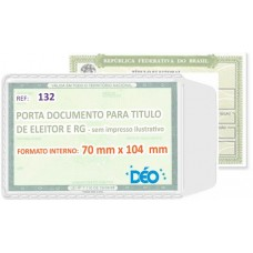 Porta Documentos - S/ impressos ilustrativos - P/ RG (identidade) e título de eleitor (Ref. 132) - Embalagem com 50 unidades
