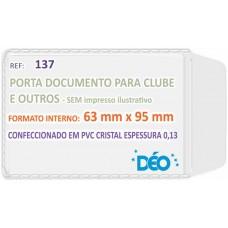 Porta Documentos - S/ impressos ilustrativos - P/ CPF (novo) / clube (maior) (Ref. 137) - Embalagem com 50 unidades
