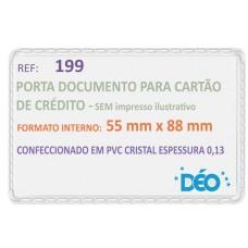 Porta Documentos - S/ impressos ilustrativos - P/ cartão de crédito. SUS e CPF (novo) s/ tampa (Ref. 199) - Embalagem com 50 unidades