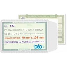 Porta Documentos - C/ impressos ilustrativos - P/ RG (identidade) e título de eleitor (Ref. 632) - Embalagem com 50 unidades