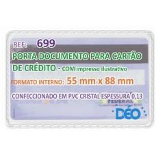 Porta Documentos - C/ impressos ilustrativos - P/ cartão de crédito. SUS e CPF (novo) s/ tampa (Ref. 699) - Embalagem com 50 unidades