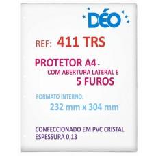 Protetores Transparentes - C/ tarja lateral ou furos - C/ abertura lateral e 5 furos - A4 (Ref. 411) - Embalagem com 50 unidades