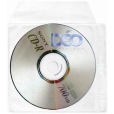 Protetores Transparentes - P/ CD / DVD - P/ CD c/ tampa. tarja lateral c/ 2 furos p/ pastas e fichários (Ref. 615) - Embalagem com 50 unidades